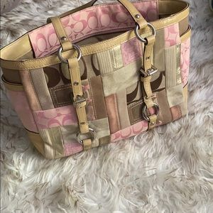 Coach - Pink and Tan Patchwork Tote